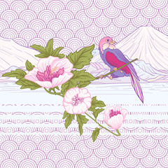 Flowers and bird and Mount Fuji. Seamless pattern, background. C