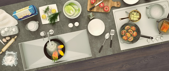 Stone countertop with dishes and products. Panorama. Top view. Diagonal.
