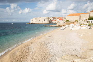 Wall Murals Cyprus Magnificent Banje beach and a beautiful view of the old city. Dubrovnik, Croatia