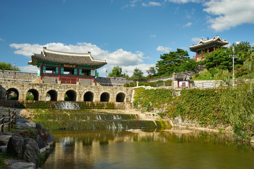 Aluminium Prints Delhi Northern Floodgate of Hwaseong Fortress with Pavilion in Suwon City, South Korea