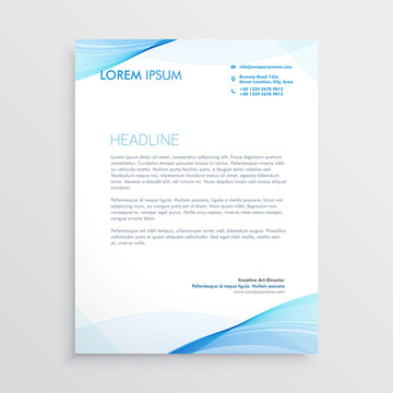abstract blue wavy shape letterhead design
