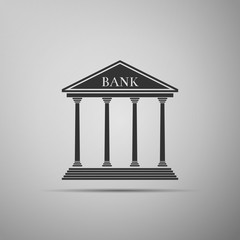 Bank building icon isolated on grey background. Flat design. Vector Illustration