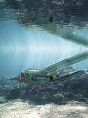 airplane wreck lies at the bottom of the sea