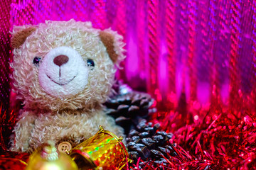 Bear doll with Christmas and New Year decoration