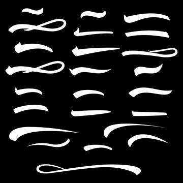 Set of hand lettering underlines lines isolated on background, vector illustration