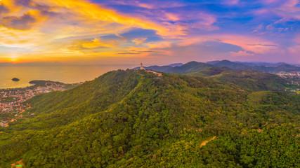 scenery panoramic Phuket big Buddha in beautiful sunset.