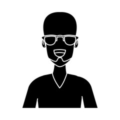 Man face with glasses cartoon icon vector illustration graphic design