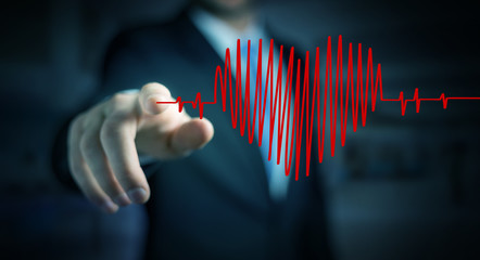 Businessman touching and holding heart beat sketch