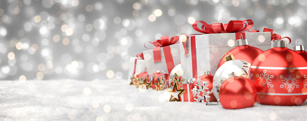 Red and white christmas gifts and baubles lined up 3D rendering