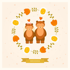 vector wedding card with bears and decorative round floral frame