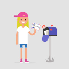 Young female character holding an envelope with the stamps. Paper letter. Correspondence / flat editable vector illustration, clip art