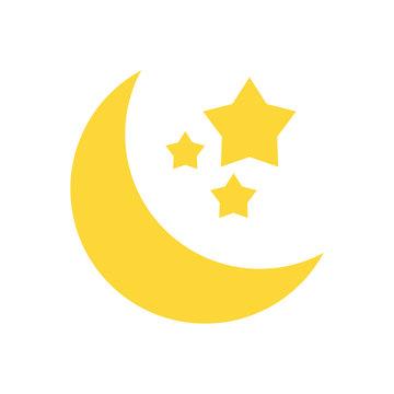 crescent moon and stars icon image vector illustration design