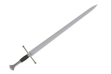 Sword displayed by diagonal, isolated on white background, 3D rendering