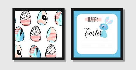 Hand drawn vector abstract creative Easter greeting postcard design template with painted Easter eggs and Easter bunny isolated on white background.Design for flayer,invitation,journaling,decoration.