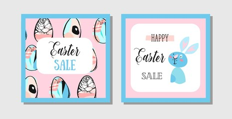 Hand drawn vector abstract creative Easter Sale greeting postcard design template with painted Easter eggs and Easter bunny isolated on white background.Design for invitation,journaling,decoration.