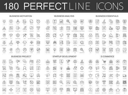 180 modern thin line icons set of business motivation, analysis, business essentials, business project, startup development, e commerce.
