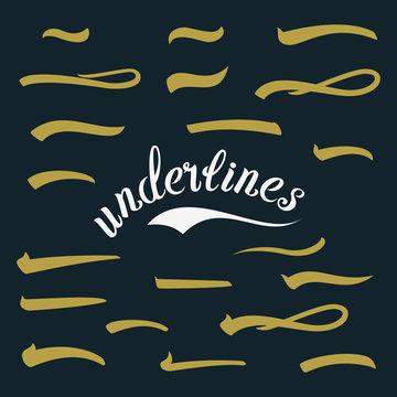 Underline. Set Lettering Underlines. Vintage Handmade Elements For Housewarming Posters, Greeting Cards, Home Decorations. Vector Illustration Handwritten Marker.