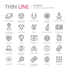 Collection of science thin line icons