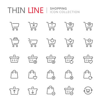 Collection of shopping carts thin line icons