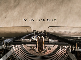 To Do List 2018 typed words on a Vintage Typewriter