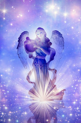 Wall Mural - angel archangel Gabriel, Haniel or Ariel with divine rays of light over mystical background with stars