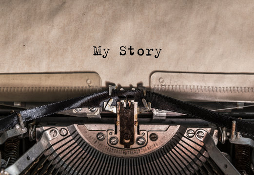 My Story typed words on a vintage typewriter