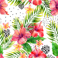 Printed roller blinds Graphic Prints Watercolor tropical leaves and flowers arrangement background.