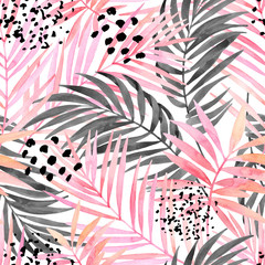 Türaufkleber Grafik Druck Watercolour pink colored and graphic palm leaf painting.