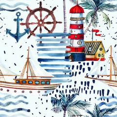 Poster de jardin Empreintes Graphiques Summer beach seamless pattern.