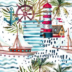 Acrylic Prints Graphic Prints Summer beach seamless pattern.