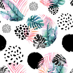 Fototapeten Grafik Druck Abstract natural seamless pattern inspired by memphis style.