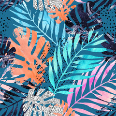 Art illustration: trendy tropical leaves filled with watercolor grunge marble texture, doodle elements background.