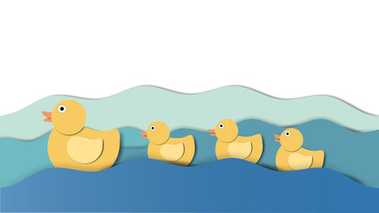 Baby ducks swimming following their mother in the water, paper craft/paper cut style