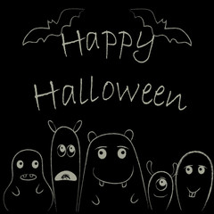 Cute monsters for Halloween.Vector illustration