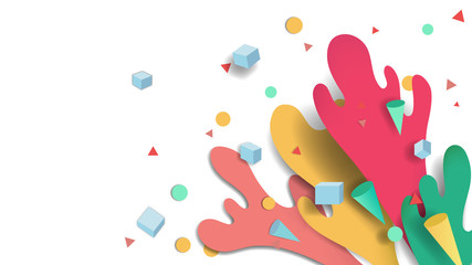 Colorful splash water and box, circle, triangle and cone confetti background, paper cutting style