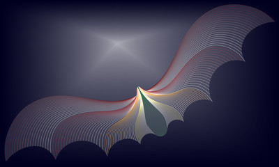 Illustration of Colorful pattern of line or wave abstract background. The colorful bat on black sky background.