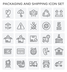 Vector line of packaging and shipping icon set.