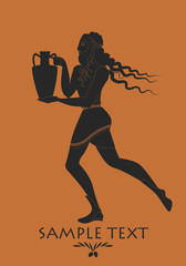 Bearded man with mane in the style of ancient Greece carrying amphora