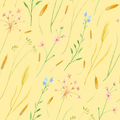 Watercolor wetland floral pattern with orange cane cattail pink susak umbrella water violet and reeds lake on peach-yellow background