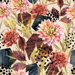 Wall Murals Graphic Prints Autumn watercolor floral arrangement, seamless pattern.