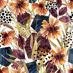 Autumn watercolor floral arrangement, seamless pattern.