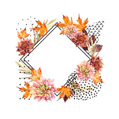 Fototapeten Grafik Druck Autumn watercolor floral arrangement