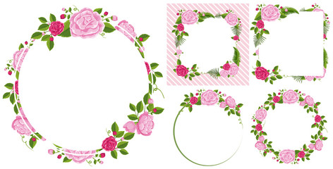 Border template with pink roses