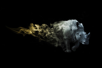 digital art image of a rhino with amazing photoshop effect
