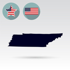 Map of the U.S. state of Tennessee on a white background. Americ