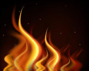 Hot flames burning on black background