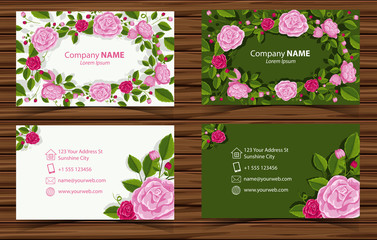 Two design of businesscard with pink roses