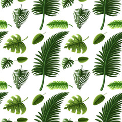 Seamless design with many green leaves