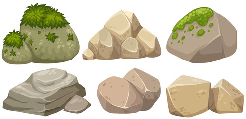 Different shapes of stone with moss