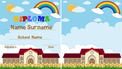 Diploma and background template with school building